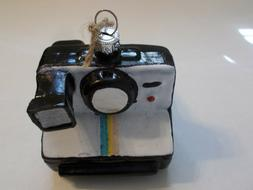 NEW POTTERY BARN GLASS VINTAGE LOOK CAMERA ORNAMENT FREE SHI