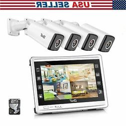 """New HD 1080P 4 Channel Security Camera System 1080P 11"""" LCD"""