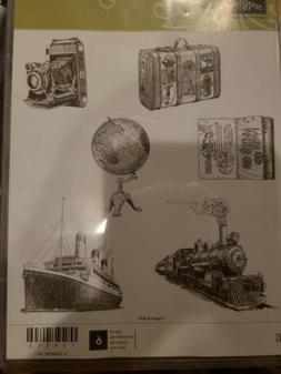 NEW Stampin Up TAVELER Clear mount stamps Train Boat Ship Gl