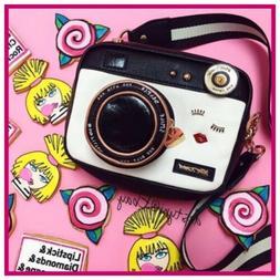 NWT Betsey Johnson Kitsch Black Camera Crossbody Bag Purse C