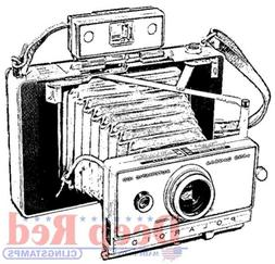 Deep Red Stamps Polaroid Camera Rubber Cling Stamp