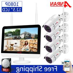 "8CH 12"" Monitor 1080P Wireless Security Camera System Outdoo"