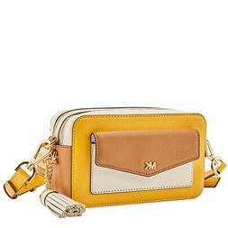 Michael Kors Small Tri-Color Leather Camera Bag- Jasmine Yel