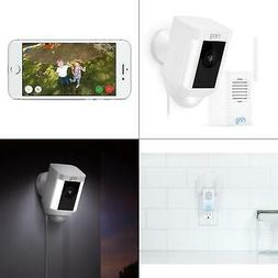 spotlight cam wired outdoor security camera white with chime