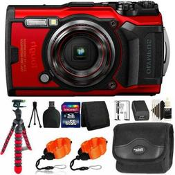 Olympus Tough TG-6 Digital Camera Red + 32GB Memory Card & A
