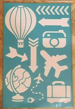 "TRAVEL AIRPLANE GLOBE CAMERA More..Stencil 6""x9"" Reusable Ar"
