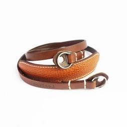 LeaTure Universal Brown Leather Camera DSLR Lengthen Shoulde