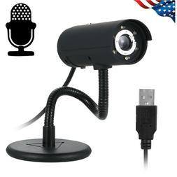 USB 480P Computer Webcam with Mic and 6pcs IR LED Lights Nig