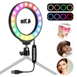 USB RGB LED Ring Light w/ Stand Lamp Lighting Kit for Makeup