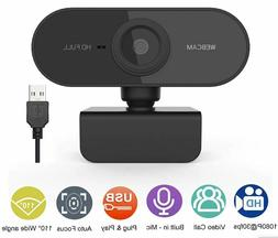Webcam with Microphone, HD 1080P Webcam USB Plug and Play Co