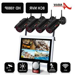 """8CH Wireless Security Camera System 1080P HD 12""""Monitor Home"""